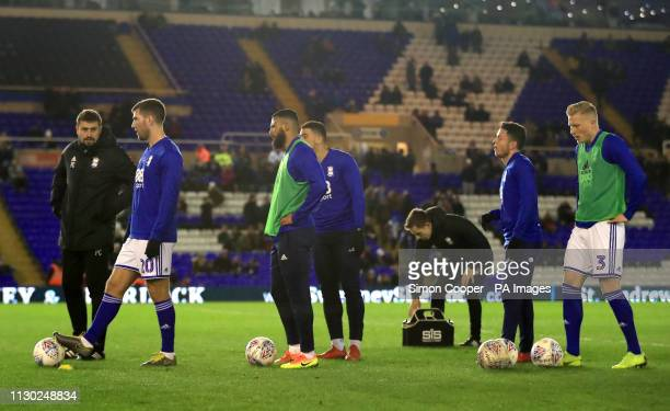 Birmingham City players warm up ahead of the match during the Sky Bet Championship match at St Andrew's Trillion Trophy Stadium Birmingham