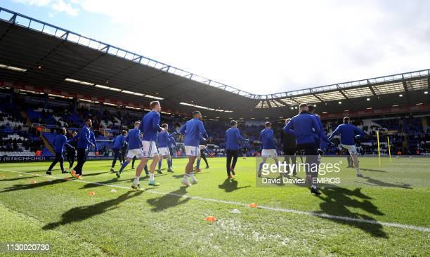 Birmingham City players warming up ahead of the match Birmingham City v Aston Villa Sky Bet Championship St Andrew's Trillion Trophy Stadium