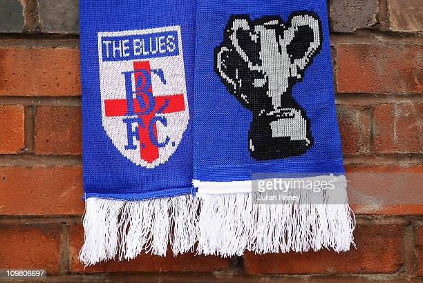Birmingham City scarves are seen during the Birmingham City Carling Cup Civic Reception at St Andrews on March 6 2011 in Birmingham England