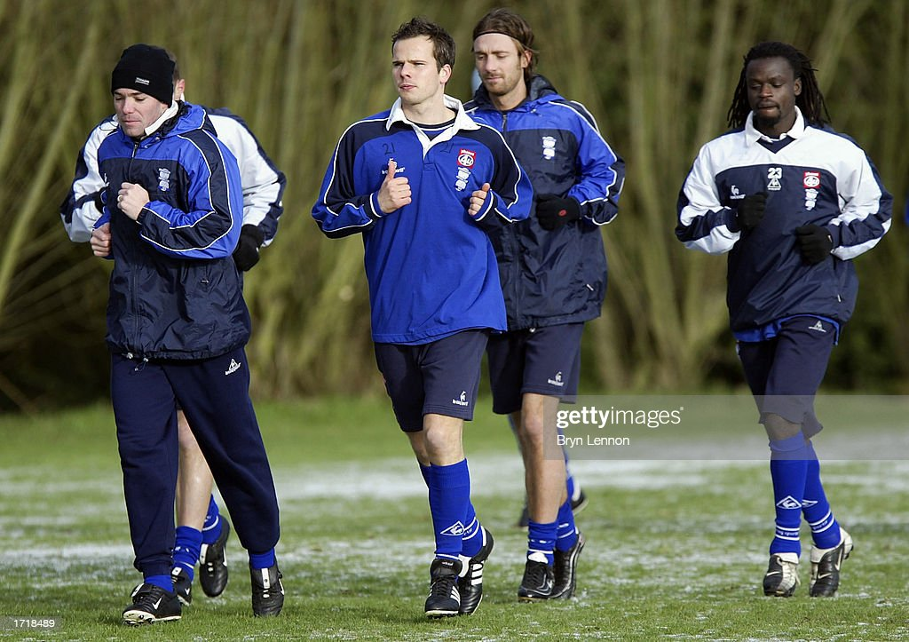 Birmingham City signing Stephen Clemence (centre) during training at Kings Norton in Birmingham, England on January 10, 2003.