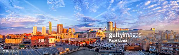 birmingham city skyline at sunrise. - birmingham england stock photos and pictures