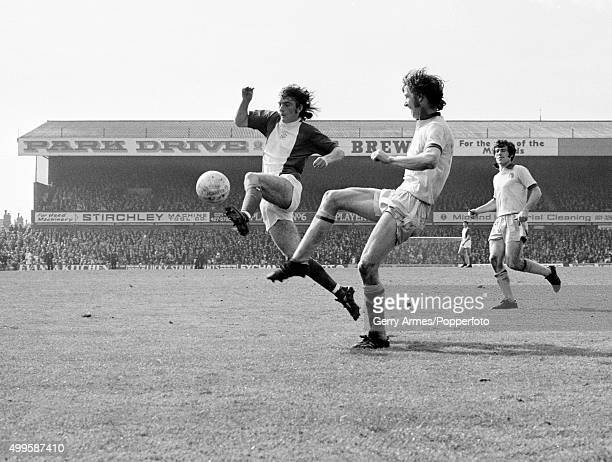Birmingham City striker Trevor Francis is challenged by West Bromwich Albion defender John Wile during their First Division match against West...