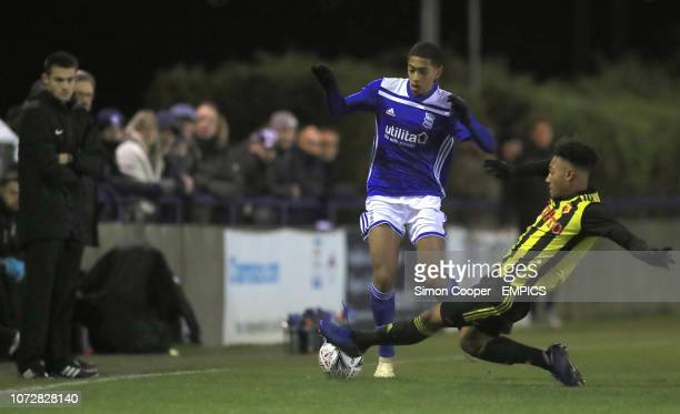 Birmingham City U18's Jude Bellingham and Watford U18's Lewis Gordon after the final whistle Watford U18's v Birmingham City U18's FA Youth Cup Third...