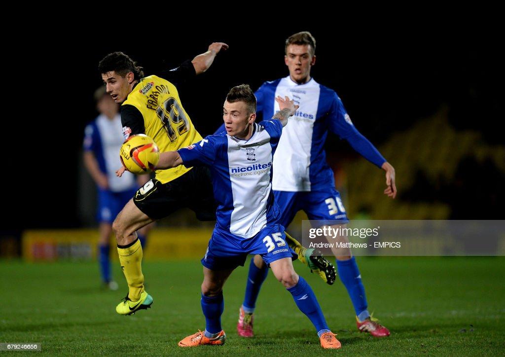 Birmingham City's Albert Rusnak and Watford's Marco Davide