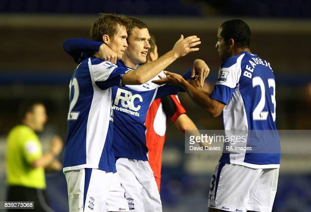 Birmingham City's Alexander Hleb celebrates scoring his sides first goal of the game with teammates Craig Gardner and Jean Beausejour