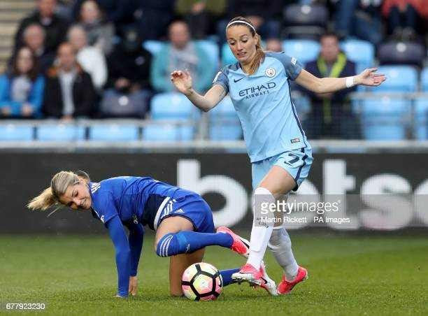 Birmingham City's Andrine Hegerberg and Manchester City's Kosovare Asllani battle for the ball during the FA Women's Super League match at the...