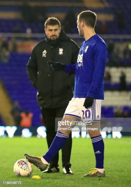 Birmingham City's assistant manager Pep Clotet and Gary Gardner ahead of the match during the Sky Bet Championship match at St Andrew's Trillion...