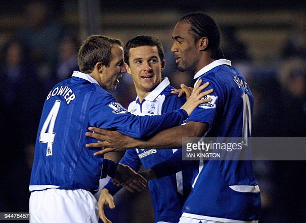 Birmingham City's Cameron Jerome celebrates scoring his second goal with Birmingham City's Barry Ferguson and Birmingham City's Lee Bowyer against...