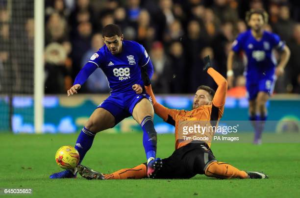 Birmingham City's Che Adams and Wolverhampton Wanderers' Matt Doherty battle for the ball during the Sky Bet Championship match at Molineux...