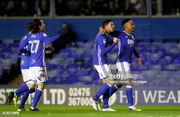 Birmingham City's Che Adams celebrates scoring his side's first goal of the game during the Emirates FA Cup fourth round replay match at St Andrews...