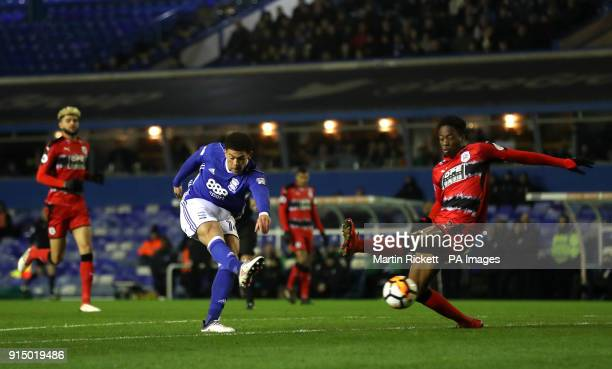 Birmingham City's Che Adams scores his side's first goal of the game during the Emirates FA Cup fourth round replay match at St Andrews Birmingham