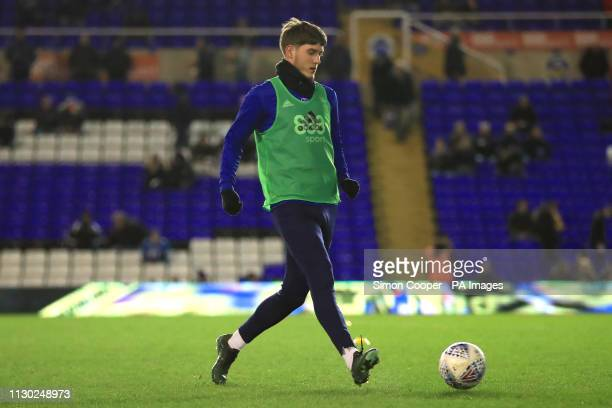 Birmingham City's Connor Mahoney warms up ahead of the match during the Sky Bet Championship match at St Andrew's Trillion Trophy Stadium Birmingham