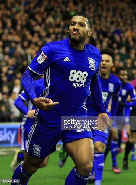 Birmingham City's David Davis celebrates scoring his side's second goal during the Sky Bet Championship match at Molineux Wolverhampton