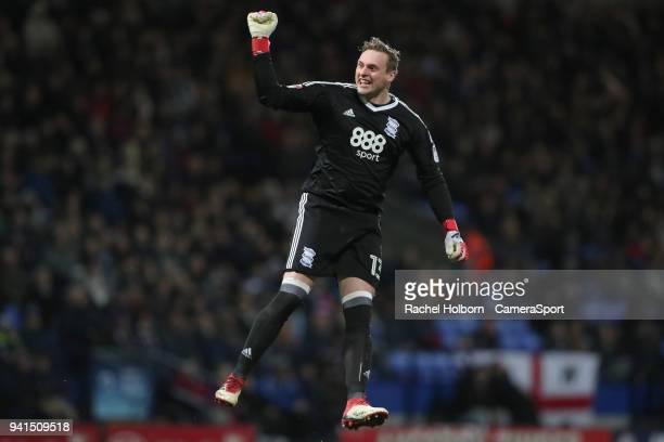 Birmingham City's David Stockdale celebrates scoring his side's first goal during the Sky Bet Championship match between Bolton Wanderers and...