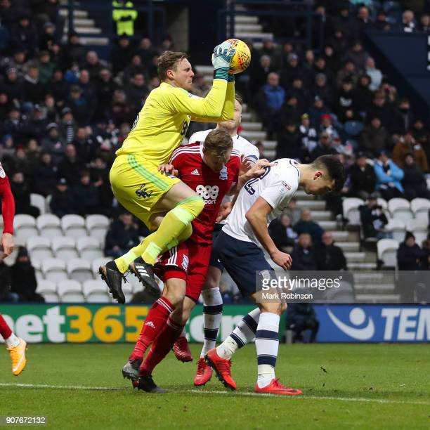 Birmingham City's David Stockdale collect the ball during the Sky Bet Championship match between Preston North End and Birmingham City at Deepdale on...