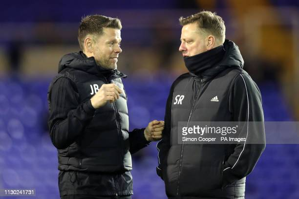 Birmingham City's first team coach James Beattie and head of performance Sean Rush ahead of the match during the Sky Bet Championship match at St...