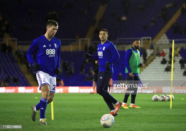 Birmingham City's Gary Gardner and Che Adams warm up ahead of the match during the Sky Bet Championship match at St Andrew's Trillion Trophy Stadium...