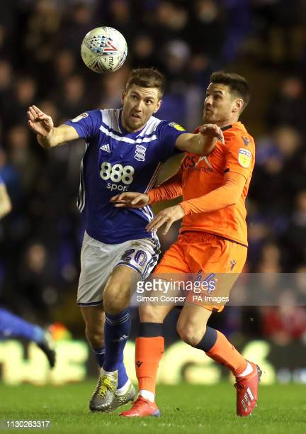 Birmingham City's Gary Gardner and Millwall's Ben Marshall battle for the ball during the Sky Bet Championship match at St Andrew's Trillion Trophy...
