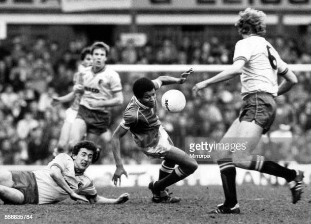 Birmingham City's Howard Gayle loses his way and takes a tumble watched by Rostron and Franklin (right. Birmingham City v Watford, FA Cup...