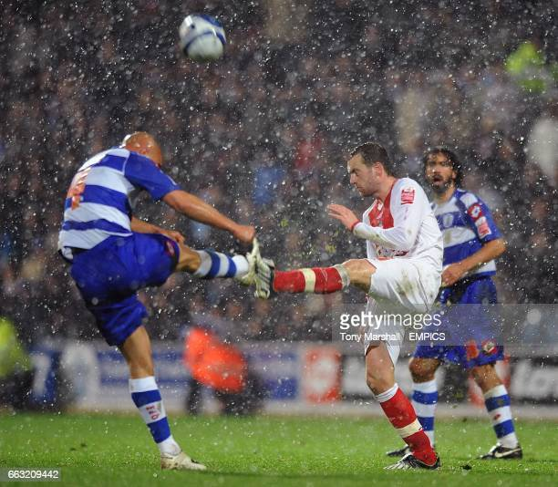 Birmingham City's James McFadden and Gavin Mahon Queens Park Rangers battle for the ball