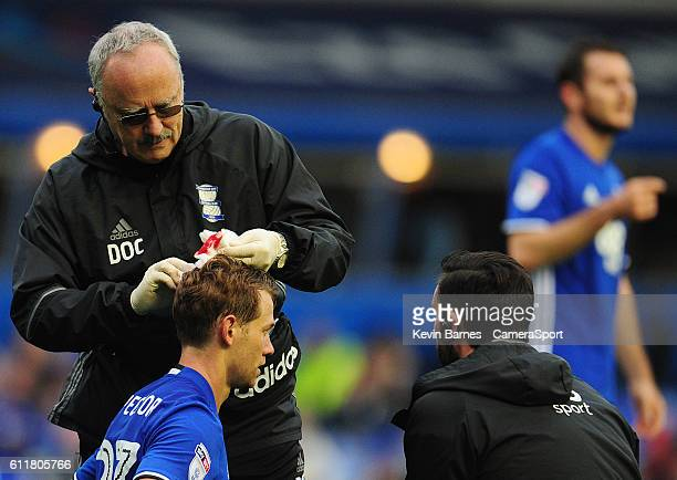 Birmingham City's Jonathan Spector receives treatment for a head injury during the Sky Bet Championship match between Birmingham City and Blackburn...