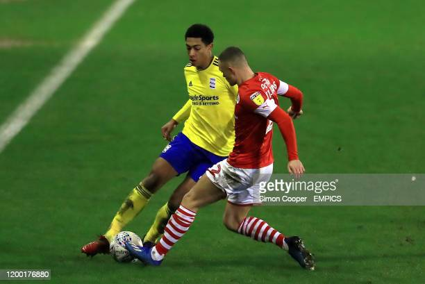 Birmingham City's Jude Bellingham and Barnsley's Jordan Williams battle for the ball Barnsley v Birmingham City Sky Bet Championship Oakwell