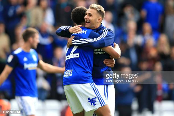 Birmingham City's Jude Bellingham and Fran Villalba celebrate after the final whistle Birmingham City v Stoke City Sky Bet Championship St Andrew's...