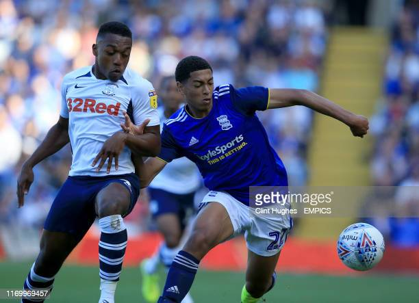 Birmingham City's Jude Bellingham and Preston North End's Darnell Fisher battle for the ball Birmingham City v Preston North End Sky Bet Championship...