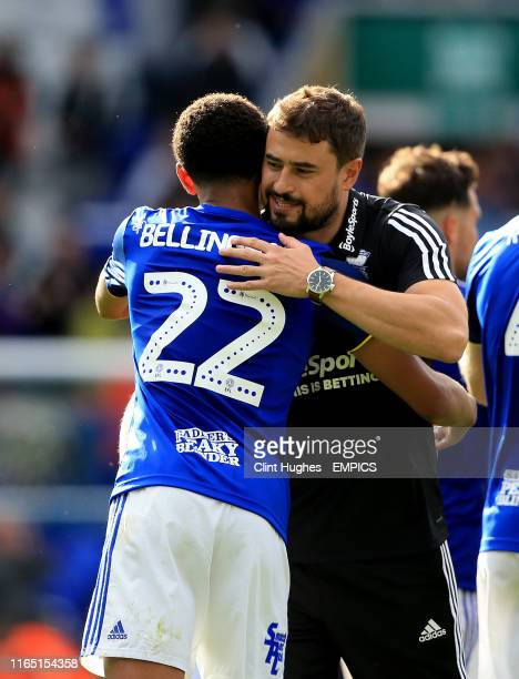 Birmingham City's Jude Bellingham celebrates with his caretaker head coach Pep Clotet at the end of the game Birmingham City v Stoke City Sky Bet...