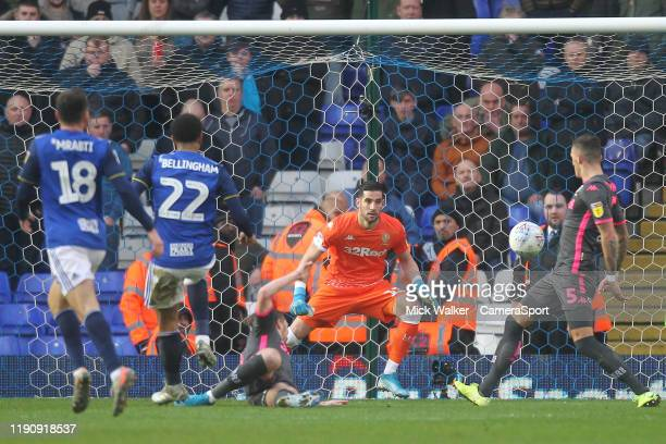 Birmingham City's Jude Bellingham scores his sides first goal beating Leeds United's Francisco Casilla during the Sky Bet Championship match between...