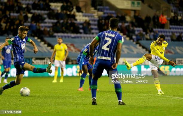 Birmingham City's Jude Bellingham shoots Wigan Athletic v Birmingham City Sky Bet Championship DW Stadium