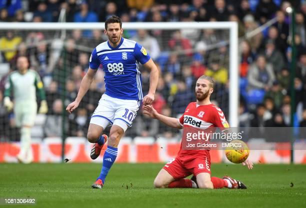 Birmingham City's Lukas Jutkiewicz and Middlesbrough's Adam Clayton battle for the ball Birmingham City v Middlesbrough Sky Bet Championship St...