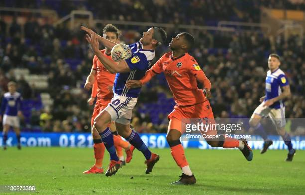 Birmingham City's Lukas Jutkiewicz and Millwall's Mahlon Romeo battle for the ball during the Sky Bet Championship match at St Andrew's Trillion...