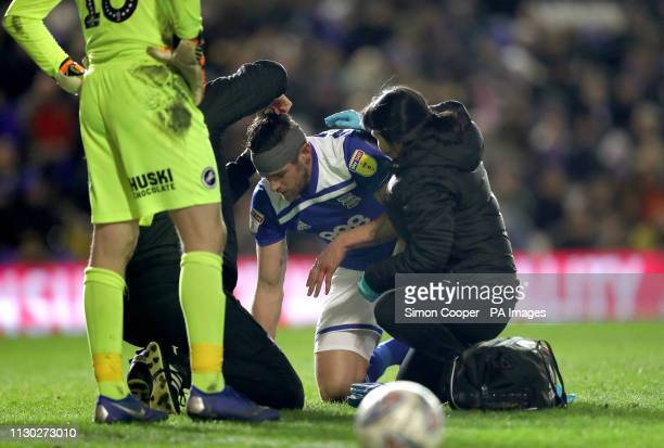Birmingham City's Lukas Jutkiewicz is treated for an injury during the Sky Bet Championship match at St Andrew's Trillion Trophy Stadium Birmingham