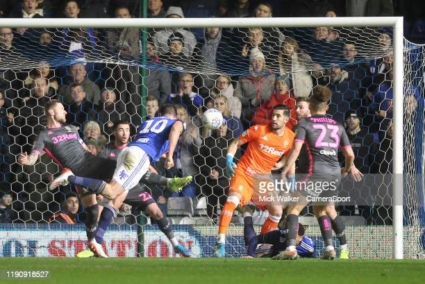 Birmingham City's Lukas Jutkiewicz scores his sides second goal during the Sky Bet Championship match between Birmingham City and Leeds United at St...