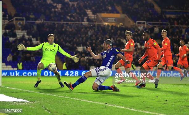 Birmingham City's Lukas Jutkiewicz takes a shot on goal during the Sky Bet Championship match at St Andrew's Trillion Trophy Stadium Birmingham