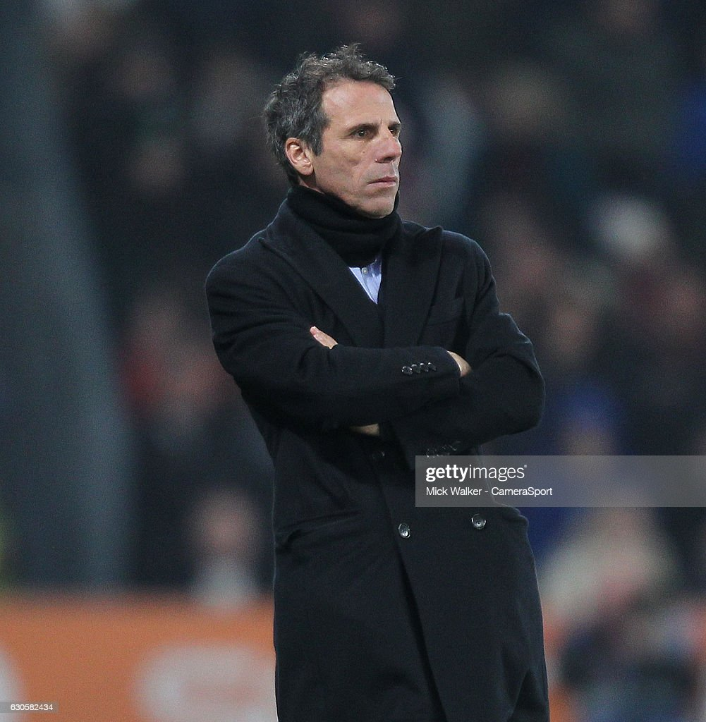 Birmingham City's Manager Gianfranco Zola during the Sky Bet Championship match between Derby County and Birmingham City at iPro Stadium on December 27, 2016 in Derby, England.