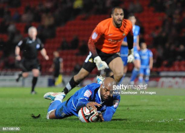 Birmingham City's Marlon King goes down in the box but is not awarded a penalty as Doncaster Rovers' goalkeeper Carl Ikeme looks on during the npower...