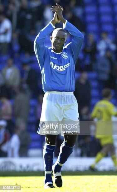 Birmingham City's new signing Dwight Yorke waves to the fans at end of the game after he scored equalising goal during the Barclays Premiership match...