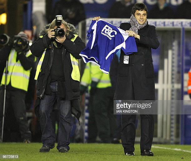 Birmingham City's new signing, Spanish midfielder Miguel Marcos Michel is unveiled to the fans before kick off against Nottingham Forest, during...