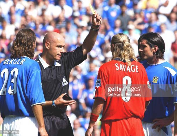 Birmingham City's Robbie Savage is booked after an incident with Portsmouth's Dejan Stefanovic, during their Barclays Premiership match at Fratton...