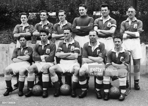 Birmingham City's Second Divisionwinning team group Jeffrey Hall Edwin 'Eddy' Brown John Watts John Schofield Trevor Smith and John 'Jack' Badham...