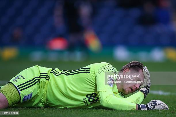 Birmingham City's Tomasz Kuszczak holds his head after a collision during the Sky Bet Championship match between Blackburn Rovers and Birmingham City...
