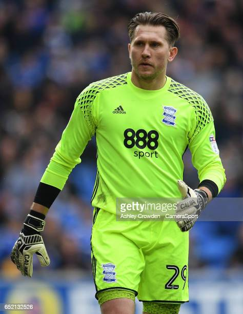 Birmingham City's Tomasz Kuszczak in action during the Sky Bet Championship match between Cardiff City and Birmingham City at Cardiff City Stadium on...