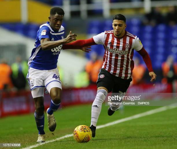 Birmingham City's Wes Harding and Brentford's Said Benrahma battle for the ball during the match at St Andrew's Trillion Trophy Stadium Birmingham...