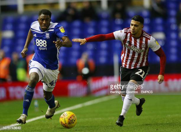 Birmingham City's Wes Harding and Brentford's Said Benrahma during the match at St Andrew's Trillion Trophy Stadium Birmingham City v Brentford Sky...