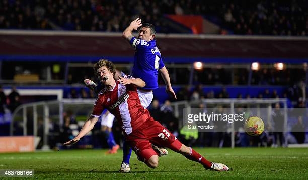 Birmingham defender Paul Robinson challenges Middlesbrough striker Patrick Bamford during the Sky Bet Championship match between Birmingham City and...