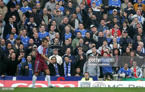 Birmingham fans express their views on Lee Hendrie of Villa during The Barclays Premiership match between Birmingham City and Aston Villa held at St...