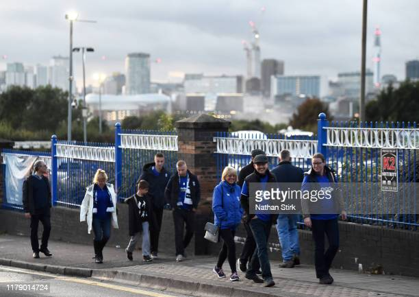 Birmingham fans make their way to the stadium during the Sky Bet Championship match between Birmingham City and Middlesbrough at St Andrew's Trillion...
