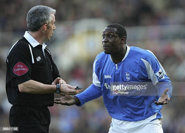 Birmingham forward Emille Heskey protests his innocence to referee Chris Foy during the Barclays Premiership game between Birmingham City and...